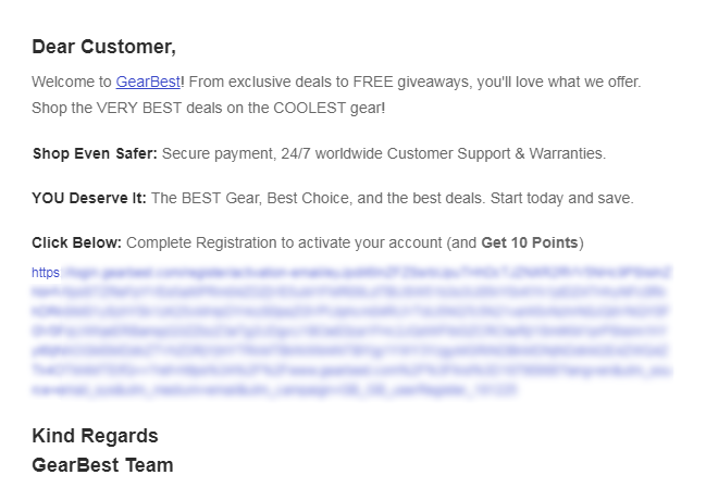 GearBestメール