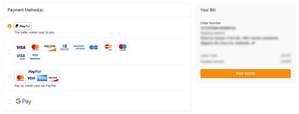 GearBest支払い方法選択