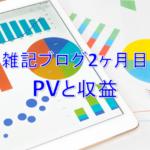 雑記ブログ開設2ヶ月目PV(アクセス数)と収益
